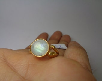 Ring Size US 6, Natural Rainbow Moonstone Handmade Ring, White Moonstone Stacking Ring, Gold Plated Moonstone Ring, Healing, Pregnancy Gift