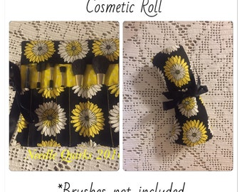 Black and Yellow Floral Cosmetic Brush Roll
