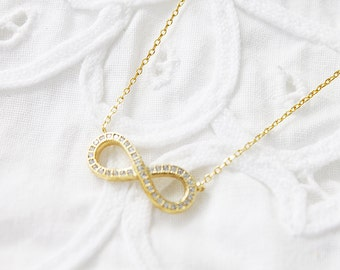 Tiny Gold and Silver Infinity Charm with Zirconia Cubic Necklace . Bridesmaid Necklace Dainty and Delicate Necklace Birthday Gift