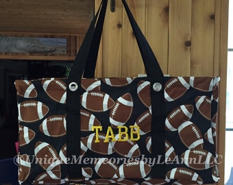 Sports Themed Football, Baseball, Soccer or Softball Utility tote FREE Monogram or Name -Tailgating, Sports events, Housewarming, Shopping