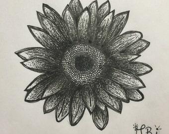 Original hand drawn sunflower drawing