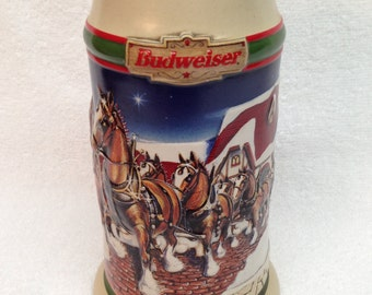 """BUDWEISER BEER STEIN is a Vintage 1998 Anheuser-Busch """"Grant's Farm Holiday"""" '98 Budweiser 7"""" Holiday Stein - Made in Brazil"""