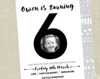 Age with Photo Birthday Invitation /  Black and White Invite / Custom Photo Invitation / Monochrome / 6th 30th 40th 50th Invitation PP047p