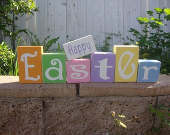 Happy Easter Wood Blocks Home Decoration in Bright Fun Spring Colors