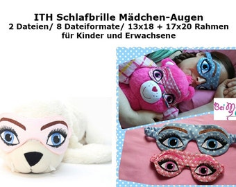 ITH sleep glasses girl eyes in the hoop for adults and children 2 sizes