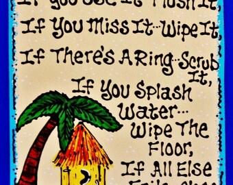 TIKI HUT Bath Rules SIGN Bath Plaque Handcrafted Hand Painted Tropical Hawaiian Bathroom Wall Bar Plaque Palm Tree Island