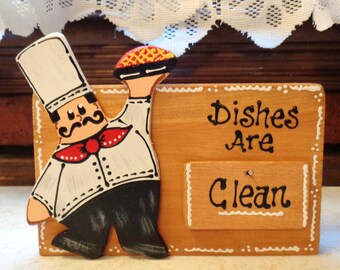 FAT CHEF DISHWASHER Clean Dirty Sign Countertop Freestanding Or Wall Hang Kitchen Decor Counry Wood Crafts Handpainted Handcrafted
