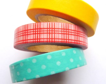 Set of 3 Slim Yellow Blue Red Washi Tapes 10mm x 10m