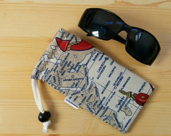 Glasses case,sunglasses case,maps glasses case,canvas case,quilted glasses case,sunglasses cover,glasses bag,glasses soft case,compass case