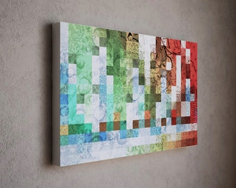 large abstract canvas art teal green red white huge abstract art contemporary art modern art