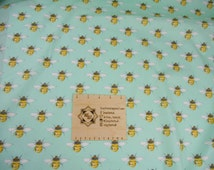 Bees green Fabric, Nursery Blanket material, Summer dress Material, Patchwork, sewing, dressmaking  QUARTER METRE