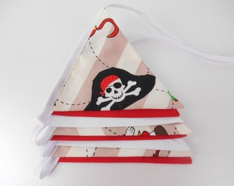 Pirate Bunting,  Nursery boys room, Red Bunting, Custom Bunting, Baby shower Decoration, Celebration, Birthdays, Treasure Island