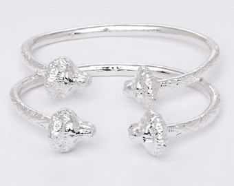 Thick Lion Ends .925 Sterling Silver West Indian Bangles