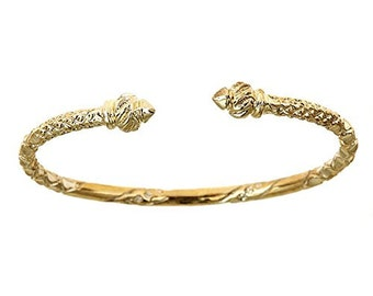 10K Yellow Gold West Indian Bangle w. Torch Ends; 31.5 Grams (Made in USA)