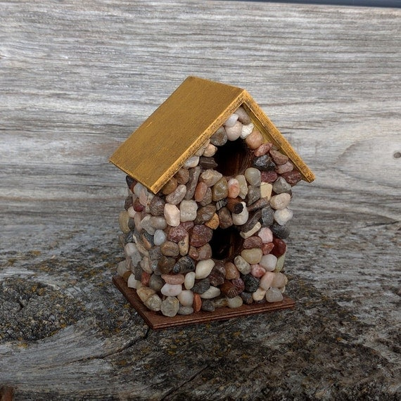 Items Similar To Miniature Stone Birdhouse Indoor Decor