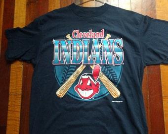 Vintage 90s Cleveland Indians T Shirt Logo 7 Adult X Large