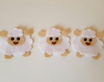3 Handmade Felt Sheep Embellishments. Die cut animals.felt animals.Card making, scrapbooking.craft embellishments.free p&p