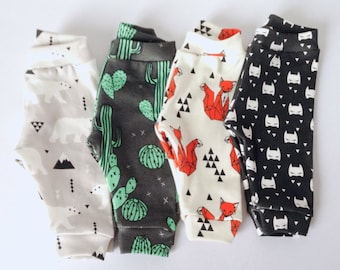 Organic baby boy legging batman cactus fox and polar bear print slim fit pant with bum pannel