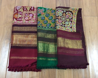 Hand Woven Kutchi work Woolen Shawl