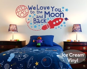 Space Decal Rocket Decal  We Love You To The Moon And Back