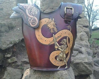 Wyrmslayer armour, by Ancestor Leathercrafts. Leather armour for LARP, film, theatre or dragonslaying
