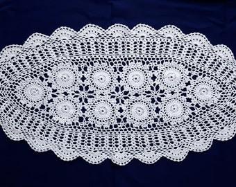 Vintage white oval crochet doily
