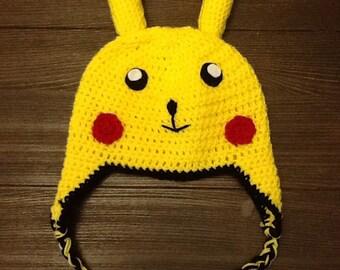 Pokeman Pikachu inspired crochet hat, made to order