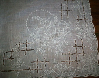 Vintage white embroidery wedding hanky