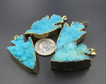 Blue Druzy Quartz Arrowhead Pendant 24K Gold Plated Natural Gemstone Pendant Raw Druzy Pendant Drusy Druzy Charming Crystal Drusy