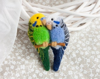 Parrot brooch Budgerigars brooch Love birds jewelry Budgerigar pin Colorful brooch Animal jewelry Animal brooch for Her