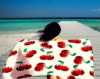 Red Cherry  Beach Towel  36 in x 72 in