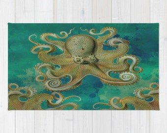 Octopus Area Rug ,Throw Rug, Teal , Tentacles