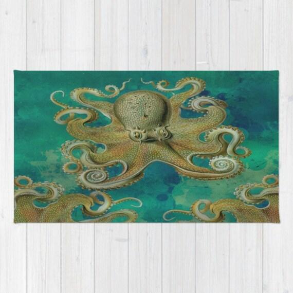 Octopus Area Rug Throw Rug Teal Tentacles