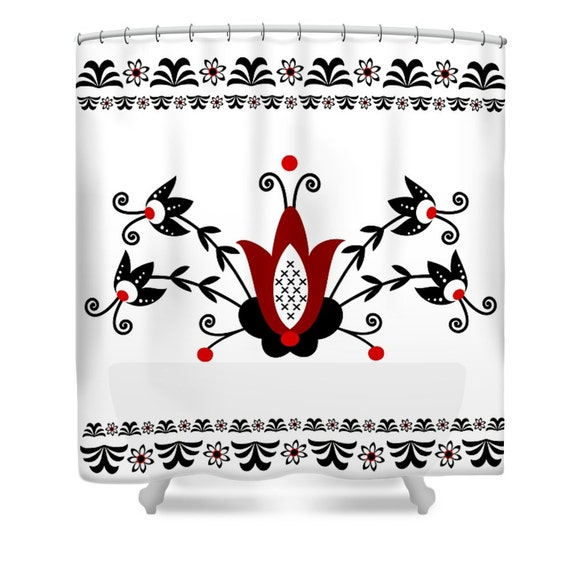 Shower Curtain White Red Black Folk Art Floral By FolkandFunky