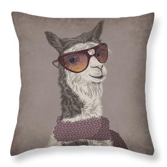 Throw Pillows Hipster : Hipster Llama Throw Pillow Brown Grunge