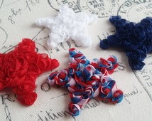 "Red, White, and, Blue 2.5"" Chiffon Shabby Stars, Set of 4 Pre-Cut, Headband, Hair Clips, Sewing, Scrapbook Embellishments - Patriotic"