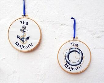Personalized Nautical Embroidery Hoop Anchor Rescue Wheel Nautical wall Art Nautical Decor Boat Decor Beach House Decor Coastal Decor