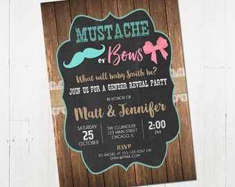 Gender reveal invitation, Mustache or bows gender reveal invites, chalkboard invite, wood, baby reveal invitation, Printable Invitation