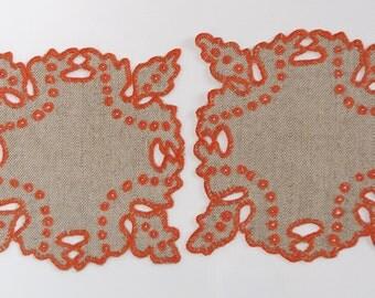 2 Polish Square Richelieu Linen Traycloths Doily Vintage Crochet Dresser Scarf cutwork embroidery, Polish linen Wedding richelieu embroidery