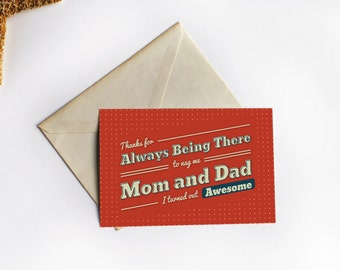 Mom and Dad Thank You - Adult Greeting Card, Soap in Your Mouth: DIY Printable Card