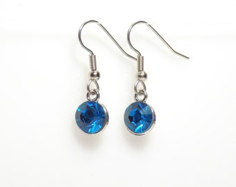 Birthstone earrings, blue earrings, earrings, dangle earrings, December earrings, silver earrings, birthstone jewelry, topaz earrings