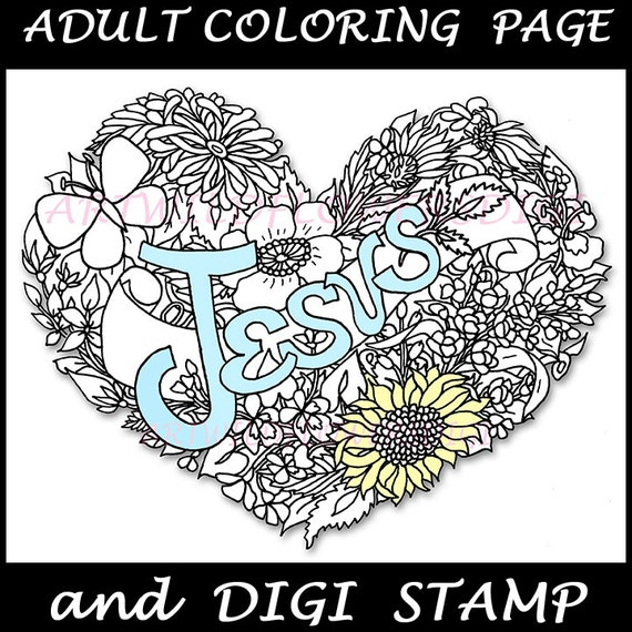 Items Similar To FREE Jesus Coloring Page Amp Digi Stamp