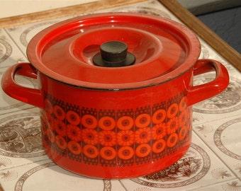 Vintage 4 Quart Daisy Pot Kaj FranckFinel Arabia Finland, Red and Black Enamel Ware Stockpot, Enamelware Soup Pot, Stew Pot