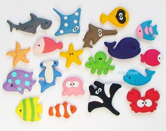 Sea Creatures, set of sea creatures, Sea Life,Sea Life Magnets, SEA and ocean creatures felt magnets, Small Felt Sea Creatures, Fish
