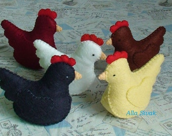 Waldorf toy, toy chickens, eco friendly toy, waldorf chickens, stuffed animal, toy chickens, all natural toy, barnyard hens, Felt hen, Hens