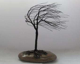 Gloss black wind swept copper wire tree.