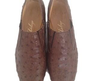 Delage Genuine Ostrich Brown Loafers - Size 37 EF