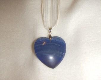 Heart shaped Blue Striped Agate pendant (JO415)