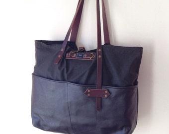 Oversized Dark Brown Leather Handbag/Shoulder Bag/Womens Purse/Large Bag/Gift