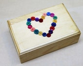 Wooden hinged trinket box with heart shape in buttons craft container wooden box jewellery box ring box trinket container storage box.